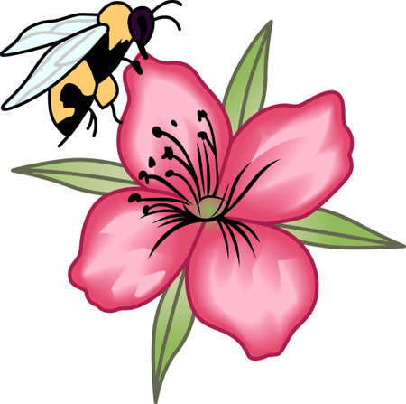 This beautiful bee shows a springtime design.   Illustration