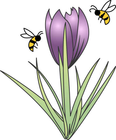 pollinating: This beautiful bee shows a springtime design.   Illustration