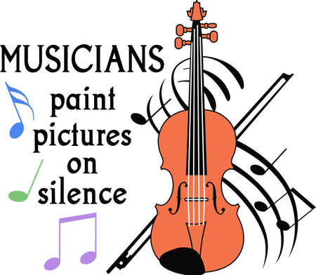 This violin design is perfect for your band student.  Another fun design from Great Notions. Stok Fotoğraf - 45167124