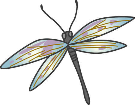 antenna dragonfly: This beautiful dragonfly shows a springtime design.  Illustration