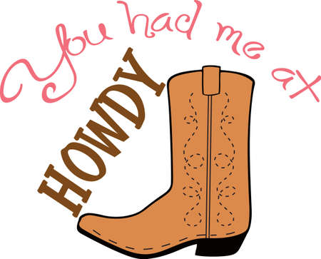 foot wear: Yee haw!  This is a cute design for your cowboy.  He will love it! Illustration