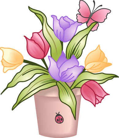 This beautiful tulip bouquet shows a springtime design.  Another cute image from Great Notions. Vectores