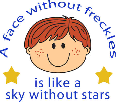 freckles: This cute cartoon boy is perfect to add to your designing fun.   Illustration