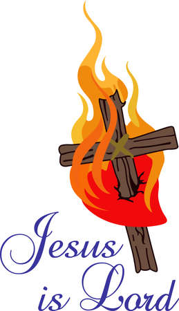 catholicism: This flaming cross is a perfect design for your church activities.