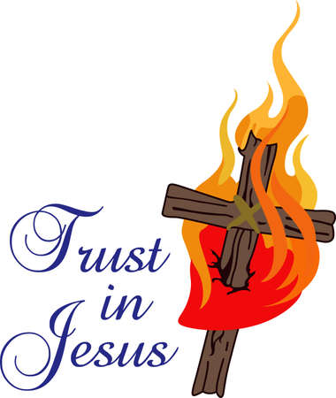 inri: This flaming cross is a perfect design for your church activities.