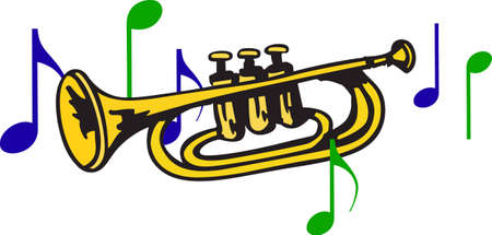 bugle: This trumpet design is perfect for your band student.   Illustration