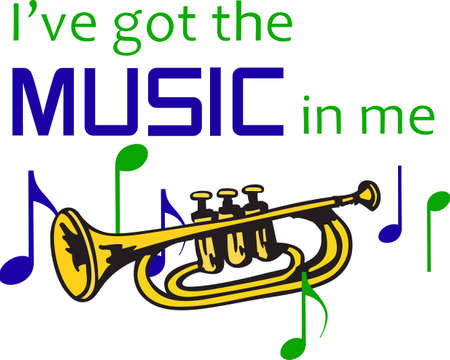This trumpet design is perfect for your band student Banco de Imagens - 45168455