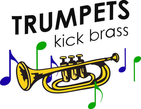 cornet: This trumpet design is perfect for your band student.   Illustration