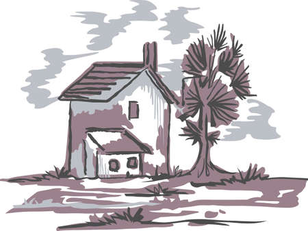 delftware: The country farm house is a relaxing place to visit and get away from the fast pace of the city.  This is a cute design from Great Notions. Illustration