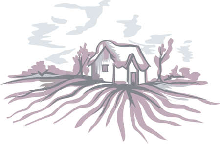 The country farm house is a relaxing place to visit and get away from the fast pace of the city.  This is a cute design from Great Notions. Stock Illustratie