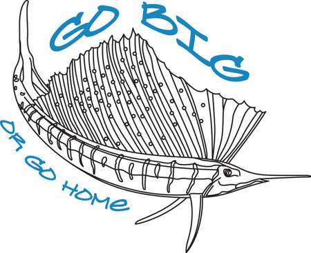 pez vela: No se olvide este diseño lindo cuando vas fishin. Este diseño es perfecto para llevar con usted cuando vaya. Todo el mundo va a encantar! Vectores