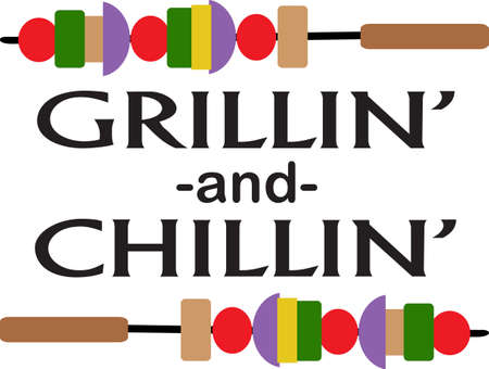 kabob: Cookin barbeque on a nice summer day enjoying the family picnic! Dont let the flames get away from you.  Perfect to add to your next tailgating party!