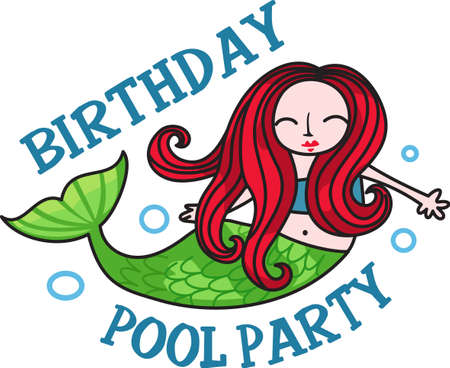 I swim like a mermaid is a perfect design for a swimming birthday party.    Ilustração