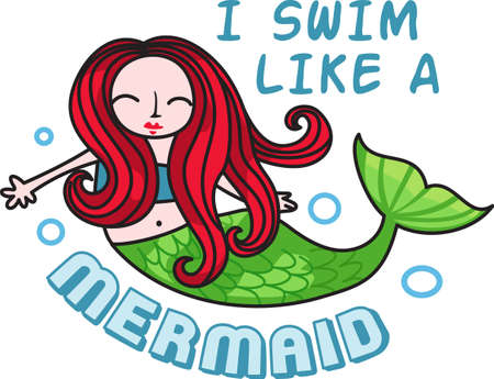 water nymph: I swim like a mermaid is a perfect design for a swimming birthday party.