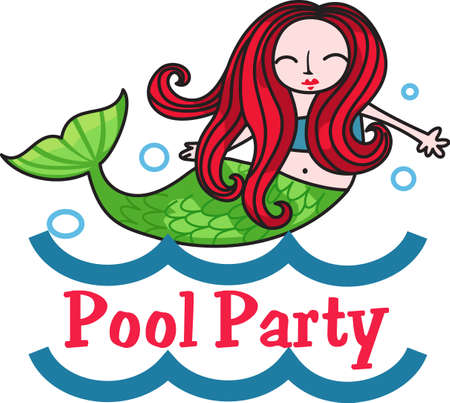 water nymph: I swim like a mermaid is a perfect design for a swimming birthday party.    Illustration
