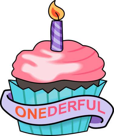 第 1 回の誕生日パーティーのためのこのカップケーキを与えます。