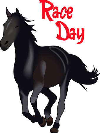 gelding: This graceful horse with the wind blowing its mane will be beautiful on a shirt, vest or jacket.   Illustration