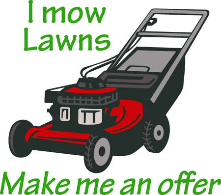 Its the perfect advertisement for your mowing business.    Ilustracja