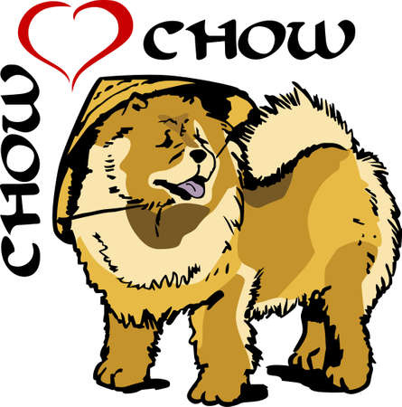 pure bred: I love my chow.    Illustration