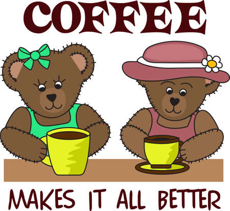 Good morning sunshine!  These cute bears are enjoying a cup of coffee.  Perfect for those who need that morning cup of coffee to start the day!