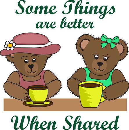 좋은 아침 햇살! 이 귀여운 곰들은 커피 한 잔을 즐기고 있습니다. 하루 아침에 커피를 마실 필요가있는 사람들에게 완벽한 곳입니다!