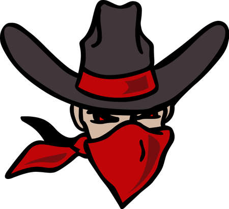 The cowboy outlaw is the perfect design for the Rodeo.    Иллюстрация
