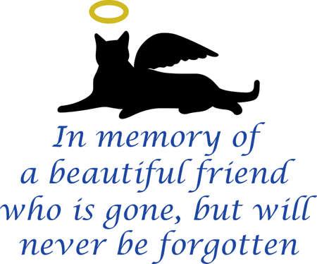 silueta de gato: El regalo de la conmemoración es un regalo especial para alguien que perdió a su mejor amigo.