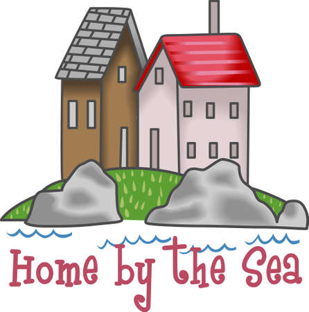 family vacation: A beautiful home on the seaside makes the perfect family vacation. Illustration