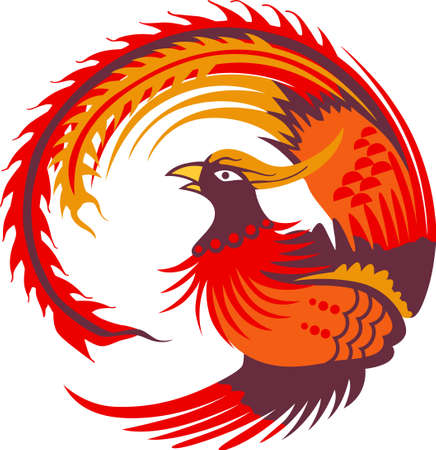 mythical phoenix bird: This large return of the Phoenix makes a perfect gift for the hard to buy for teenager. Illustration