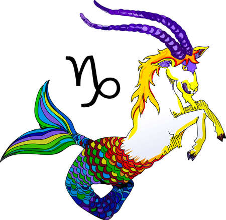 sea goat: Display your astrological sign with this beautiful sea goat for the sign Capricorn.