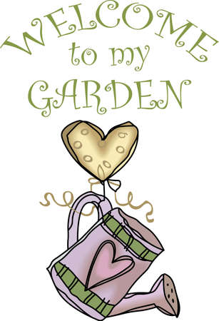 water can: This cute heart and gardening water can is perfect for your kitchen.  Everyone will love your country decorations! Illustration