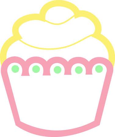 このかわいい小さなカップケーキのアップリケは、誕生日パーティーのために最適です。