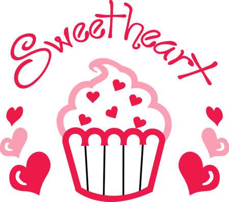 このかわいい小さなカップケーキのアップリケは、バレンタインのパーティーに最適です。