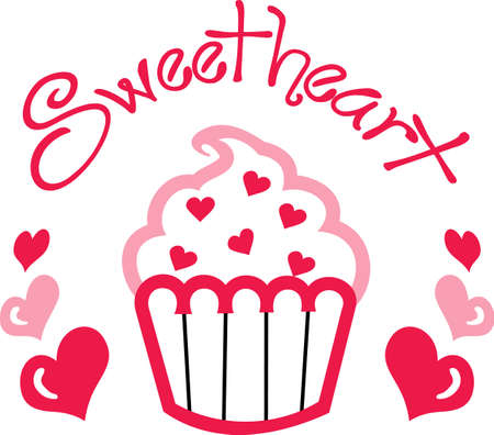applique: This cute little cupcake applique is perfect for a Valentines party.