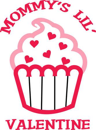 This cute little cupcake applique is perfect for a Valentine's party. Ilustração