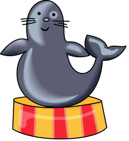 This cute cartoon seal is perfect to add to your designing fun. Иллюстрация