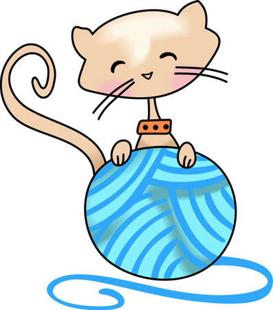 loves: This cute kitten loves to play with a ball of yarn.  Get this design for those who love cats. Illustration