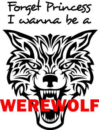 Vergeet zijn een prinses, wil ik een weerwolf te zijn. Stock Illustratie