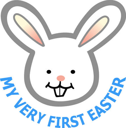 The perfect gift for baby at Easter is this cute Easter bunny.   Illustration