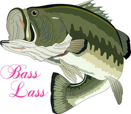 largemouth bass: Dont forget this cute design when you go fishin.  This design is perfect to take with you when you go.  Everyone will love it!