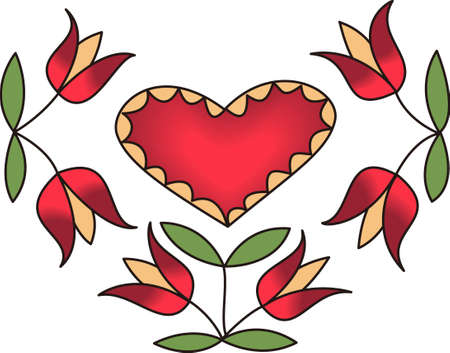 european culture: This beautiful dutch floral and heart design is perfect to add to a shirt or even a towel.