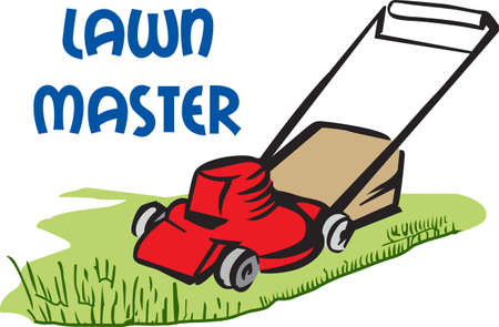 push mower: Its the perfect advertisement for your lawn mowing business.    Illustration