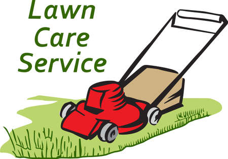 mowing the lawn: Its the perfect advertisement for your lawn mowing business.  Get these designs from Great Notions. Illustration