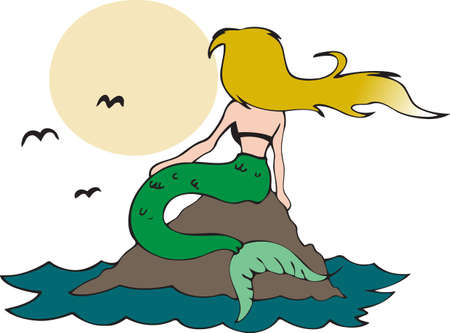 This beautiful mermaid looking at the mood is the perfect design Zdjęcie Seryjne - 45217376
