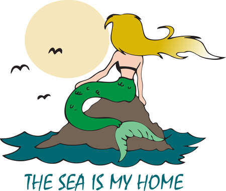This beautiful mermaid looking at the mood is the perfect design Фото со стока - 45217379