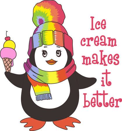 Enjoy an ice cream with this cute winter penguin.