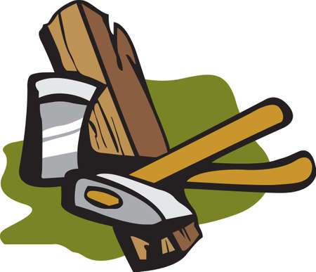Its the perfect advertisement for your wood cutting business.   Vettoriali