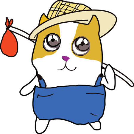 This traveling hamster is ready to go camping.   Illustration