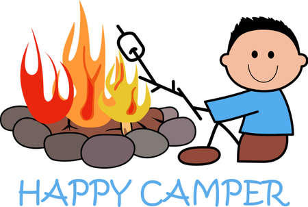 fire pit: Get out there and enjoy family time in the great outdoors.  Use this design from Great Notions on your camping gear! Illustration