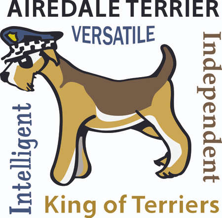 airedale terrier: My dog walks all over me.  Its sure to bring a smile! Illustration